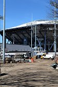 Construction continues at the Arthur Ashe Stadium complex in Flushing New York on April 16 2016