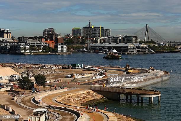 Construction continues at the Barangaroo South site on May 28 2015 in Sydney Australia The construction is part of a $1 Billion contract entered into...