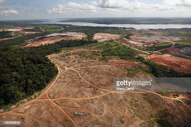 Construction continues at the Belo Monte dam complex in the Amazon basin on June 15 2012 near Altamira Brazil Belo Monte will be the world's...