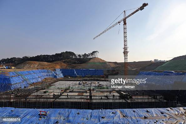 Construction continues at the Gangneung Ice Arena in the Gangneung Sports Complex on February 11 2015 located in the coastal cluster of Pyeongchang...