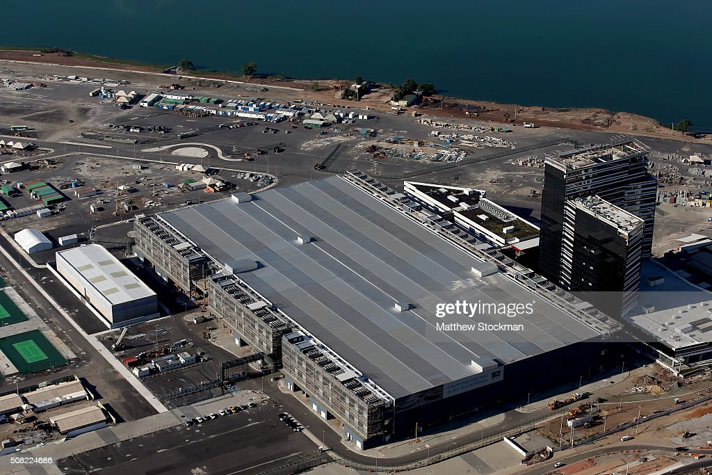 Construction continues at the International Broadcast Center and the Main Press Center at the Olympic Park for the Rio 2016 Olympic Games in the...