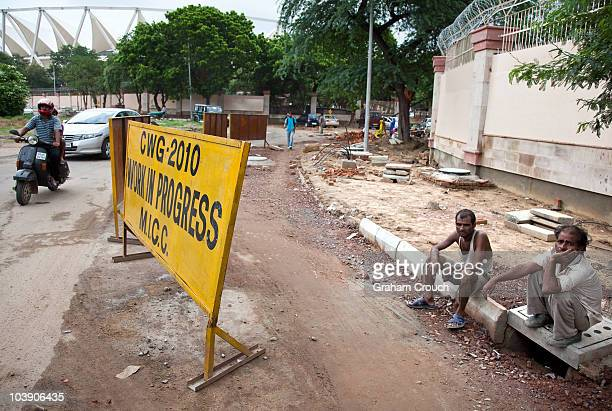 Construction continues at the Jawaharlal Nehru Stadim one of 2010 Commonwealth Games venues on August 5 2010 in Delhi India The organisers claim all...