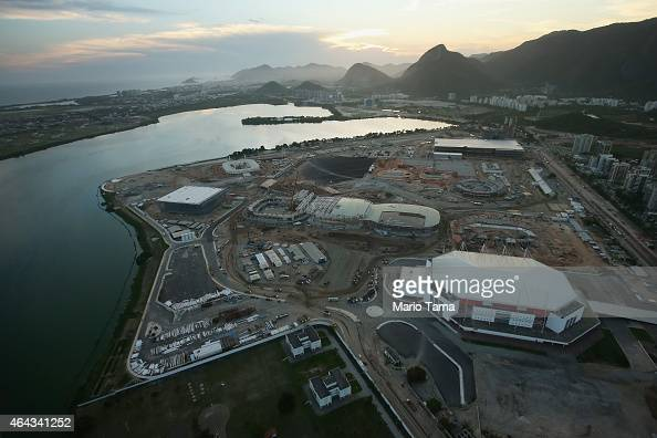 Construction continues at the Olympic Park for the Rio 2016 Olympic Games in the Barra da Tijuca neighborhood on February 24 2015 in Rio de Janeiro...
