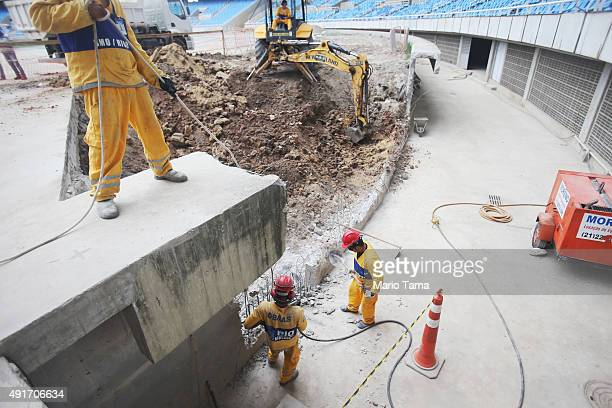 Construction continues at the Olympic Stadium during the third World Press Briefing for the Rio 2016 Olympic Games on October 6 2015 in Rio de...