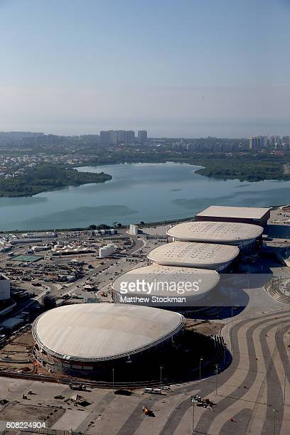 Construction continues at the Velodrome and Carioca Arenas 1 2 and 3 and Future Arena at the Olympic Park for the Rio 2016 Olympic Games in the Barra...