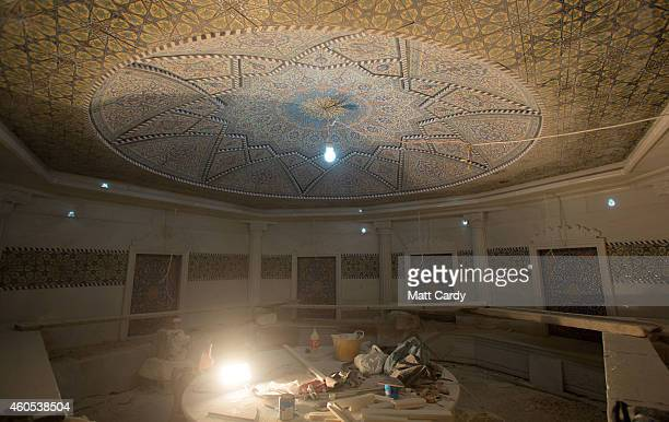 Construction continues inside a Turkish Bath inside the replica White House a $20million villa being built inside Dream City a new exclusive...