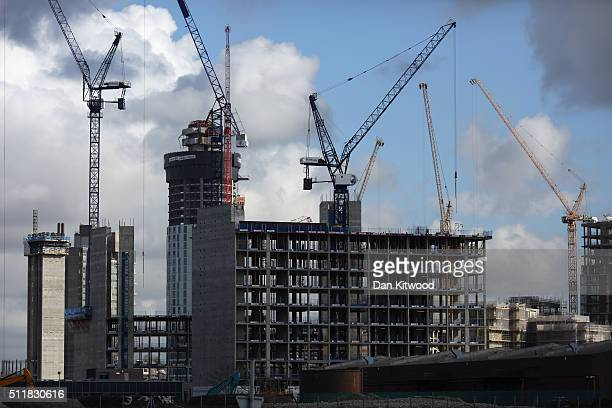 Construction continues near the Embassy Gardens luxury residential development in Battersea on February 23 2016 in London England The Embassy Gardens...