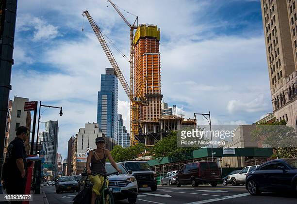 Construction continues on a 52 story apartment building August 23 2015 as part of the Brooklyn Academy of Music Cultural District in the Brooklyn...