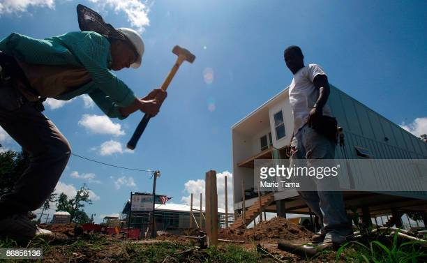 Construction continues on a new home built by the Make it Right Foundation in the Lower Ninth Ward May 8 2009 in New Orleans Louisiana New Orleans...