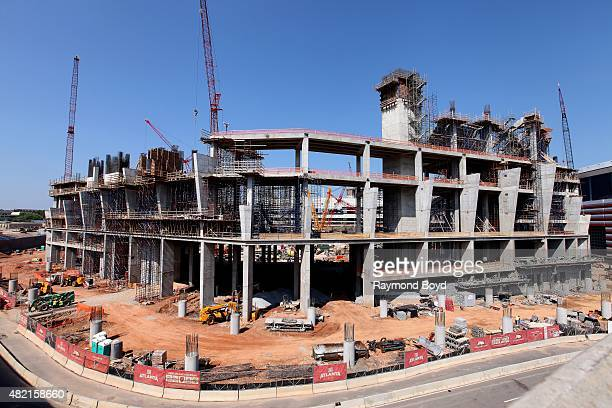 Construction continues on New Atlanta Stadium future home of the Atlanta Falcons football team and Atlanta United FC of Major League Soccer on July...