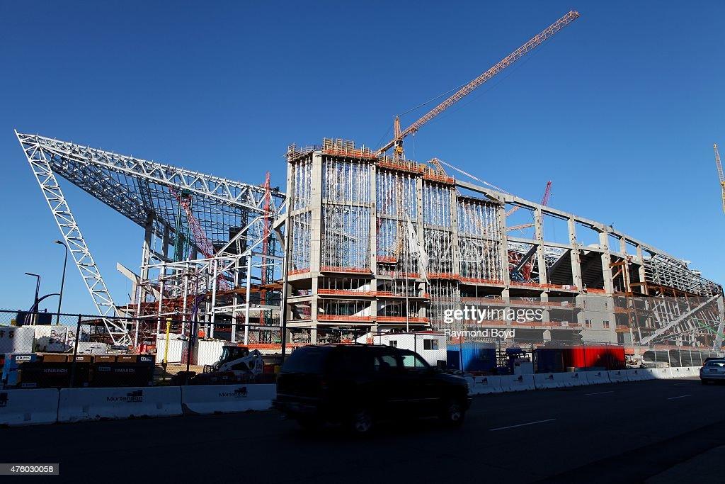 Construction continues on New Minnesota Stadium home of the Minnesota Vikings football team on May 21 2015 in Minneapolis Minnesota