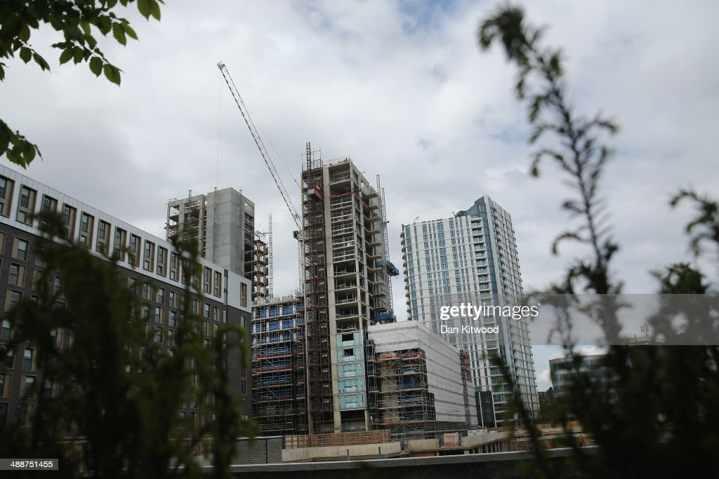Construction continues on new residential and commercial apartments in the East End on May 7, 2014 in London, England. The capital continues to see growth and house price inflation is rising at a much faster rate than the rest of the United Kingdom.