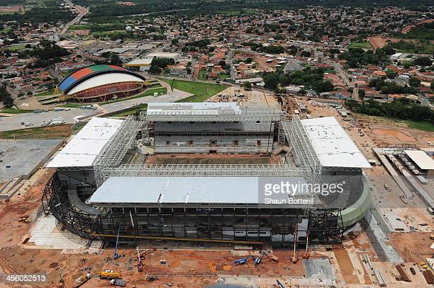 Construction continues on the Arena Pantanal Stadium venue for the FIFA 2014 World Cup Brazi on December 13 2013 in Cuiaba Brazil