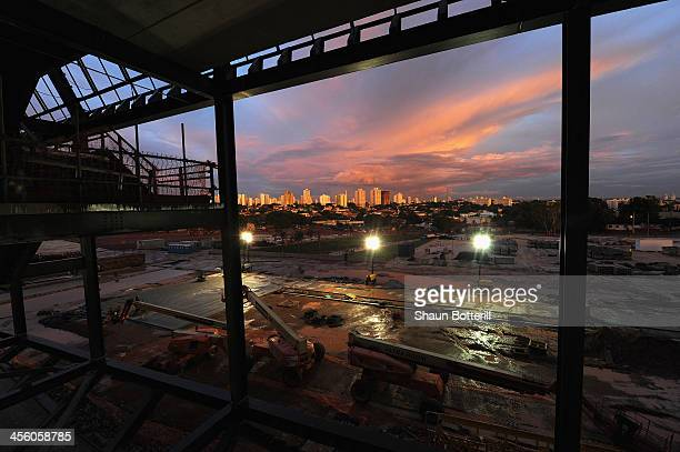 Construction continues on the Arena Pantanal Stadium venue for the FIFA 2014 World Cup Brazil on December 12 2013 in Cuiaba Brazil