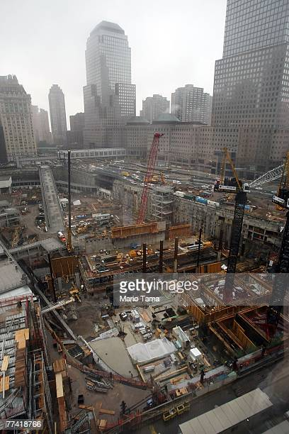 Construction continues on the base of the Freedom Tower at the World Trade Center site October 19 2007 in New York City The Port Authority of New...