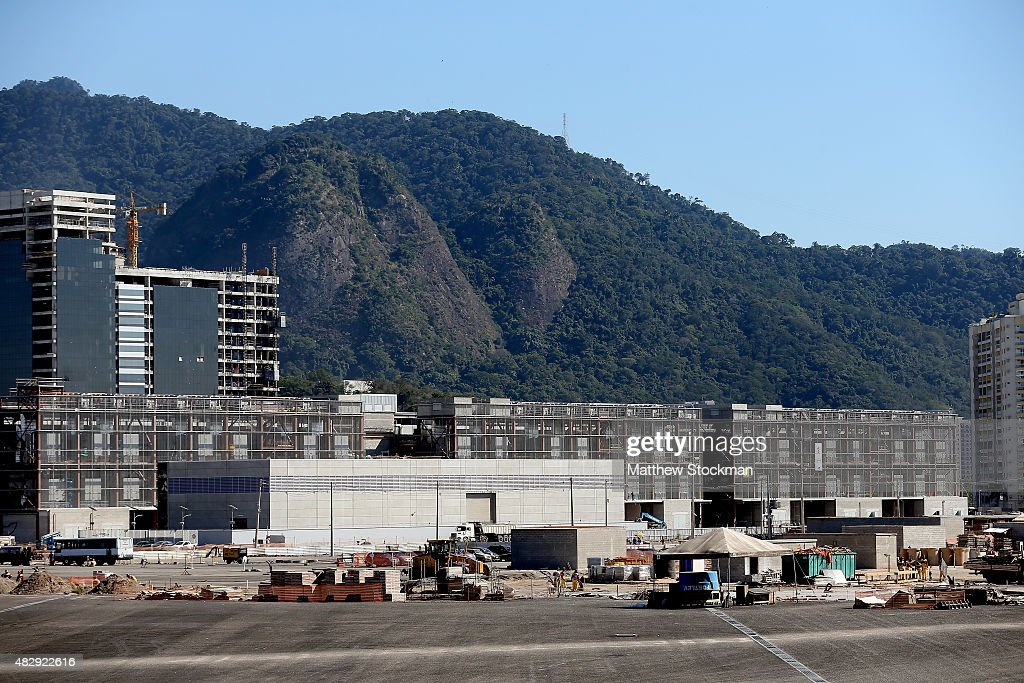 Construction continues on the International Broadcast Center and Main Press Center at the Olympic Park for the Rio 2016 Olympic Games in the Barra da...