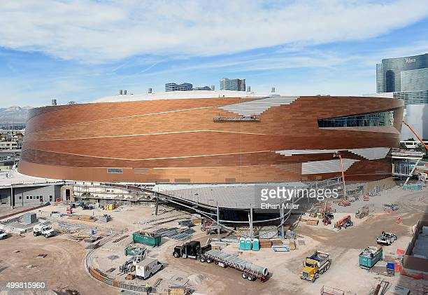 Construction continues on the Las Vegas Arena on December 3 2015 in Las Vegas Nevada The USD 375 million000seat sports and entertainment venue is...