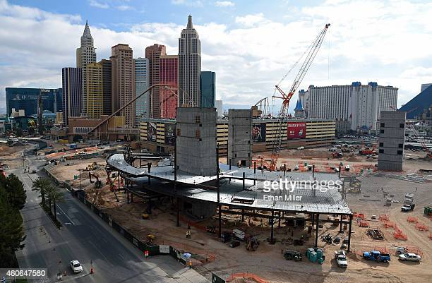 Construction continues on the Las Vegas Arena west of the New YorkNew York Hotel Casino on December 18 2014 in Las Vegas Nevada The USD 375...