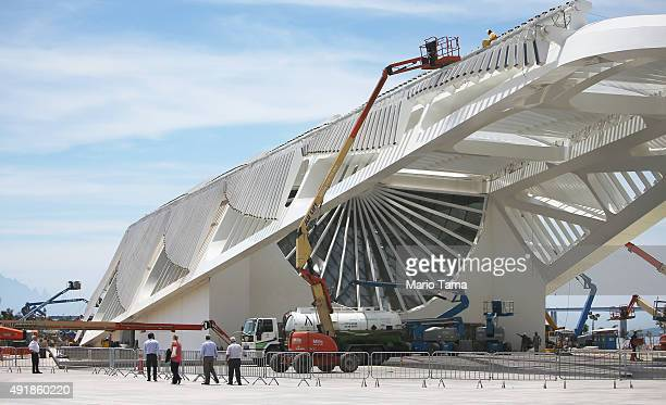 Construction continues on the Museum of Tomorrow in the Port District part of the new 'Porto Maravilha' project on October 8 2015 in Rio de Janeiro...
