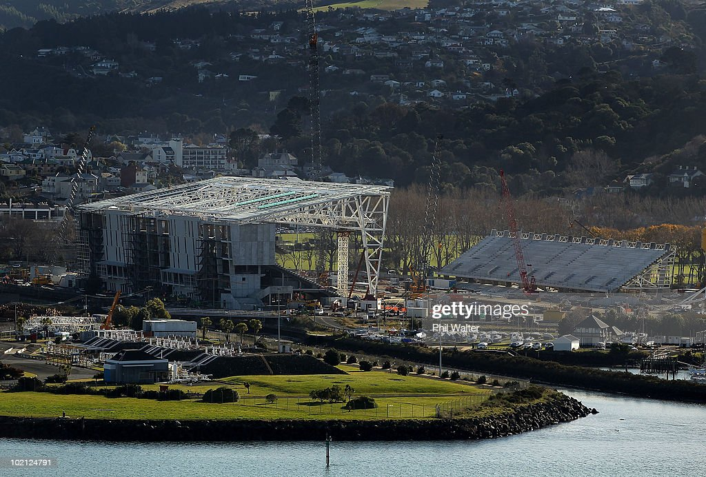 Construction continues on the new Forsyth Barr Stadium on June 16, 2010 in Dunedin, New Zealand. The new stadium which features a closed roof will replace Carisbrook for future rugby fixtures in Dunedin.