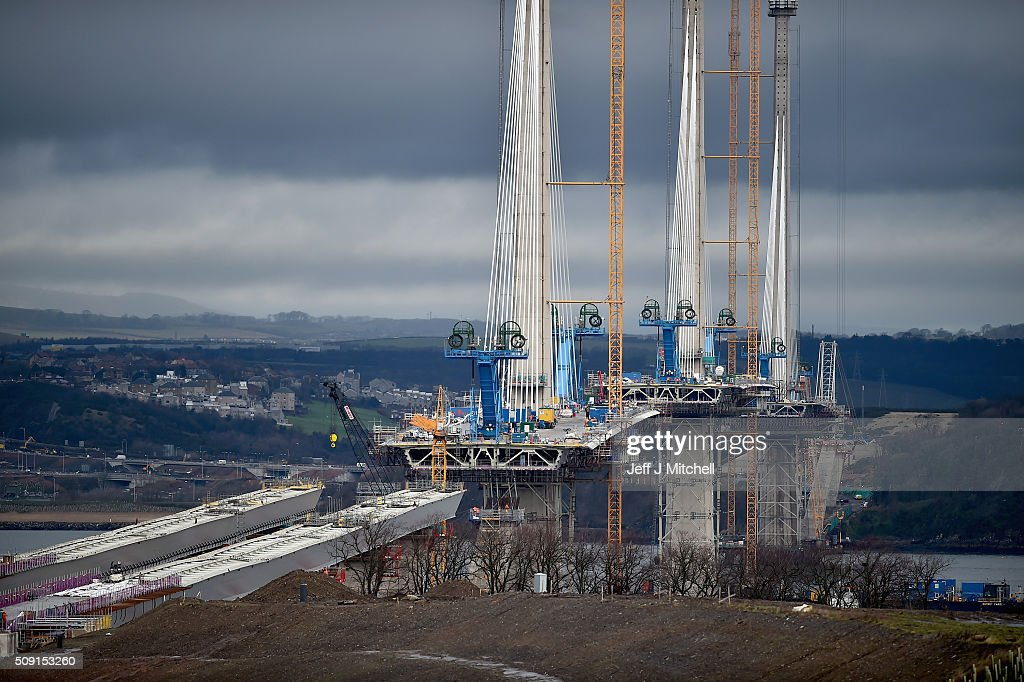 Construction continues on the new Forth crossing over the Firth of Forth on February 9, 2016 in South Queensferry, Scotland. Engineers working on the project have said that they hope to have the bridge open to traffic by the end of 2016. Currently around 1,300 people are working to finish the new £1.4bn crossing.