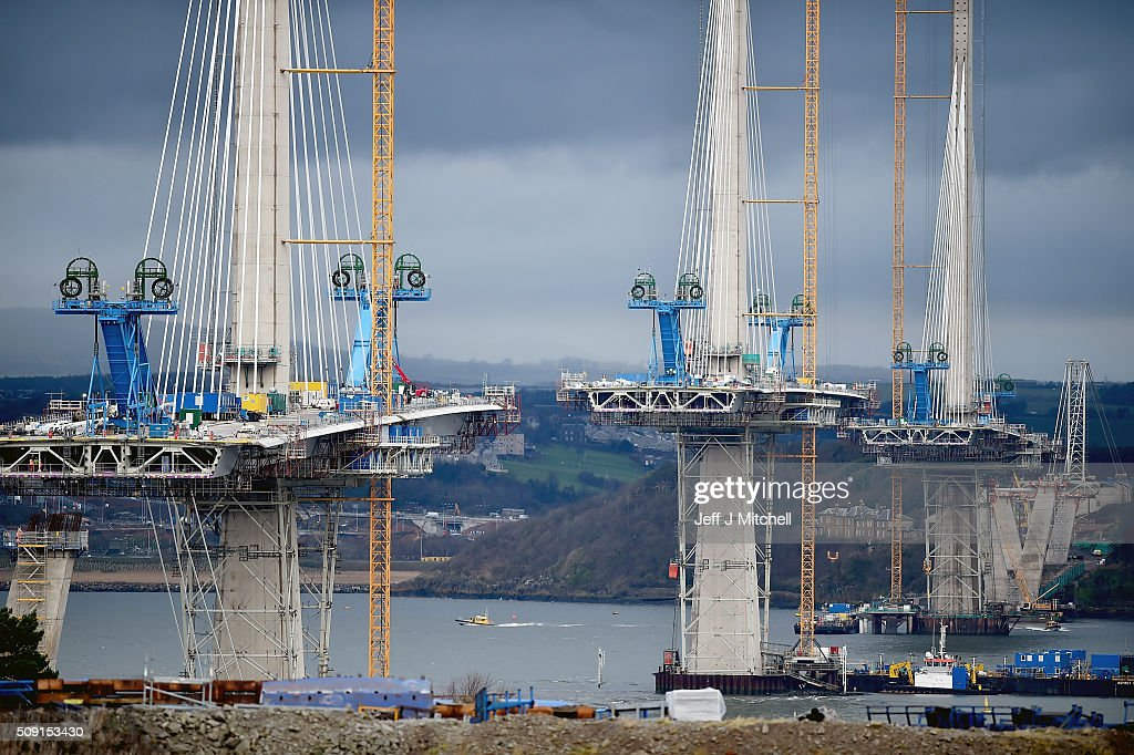 Construction continues on the new Forth crossing over the Firth of Forth on February 9, 2016 in South Queensferry,Scotland. Engineers working on the project have said that they hope to have the bridge open to traffic by the end of 2016 currently around 1,300 people are working to finish the new £1.4bn crossing.