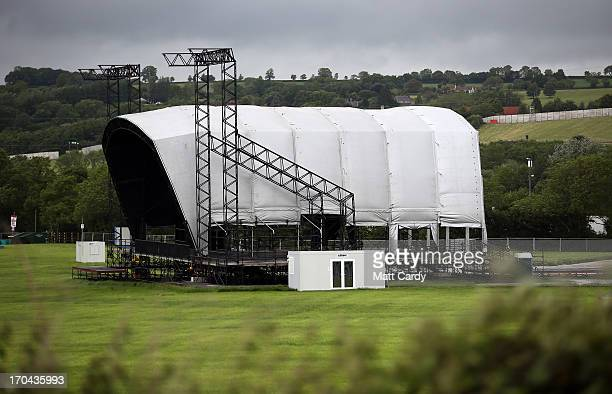 Construction continues on The Other Stage at the Glastonbury Festival of Contemporary Performing Arts site at Worthy Farm in Pilton on June 13 2013...