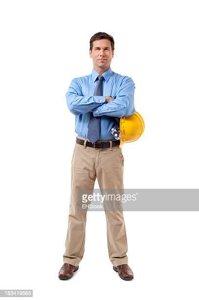 Construction Contractor Businessman Isolated on White Background