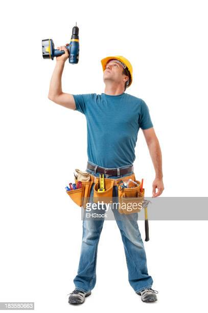 Construction Contractor Carpenter Isolated on White Background