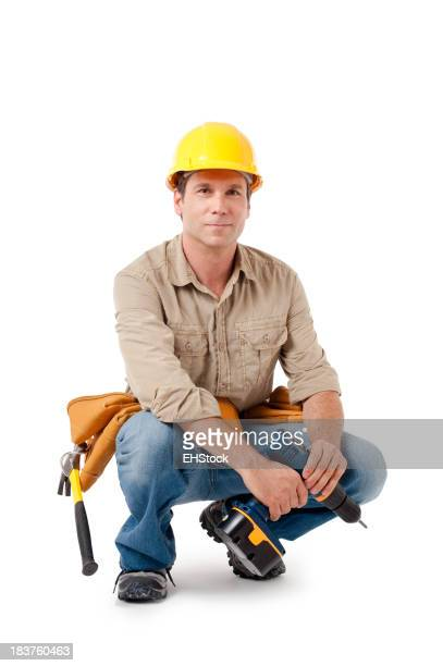 Konstruktion Auftragnehmer Carpenter, isoliert auf weißem Hintergrund