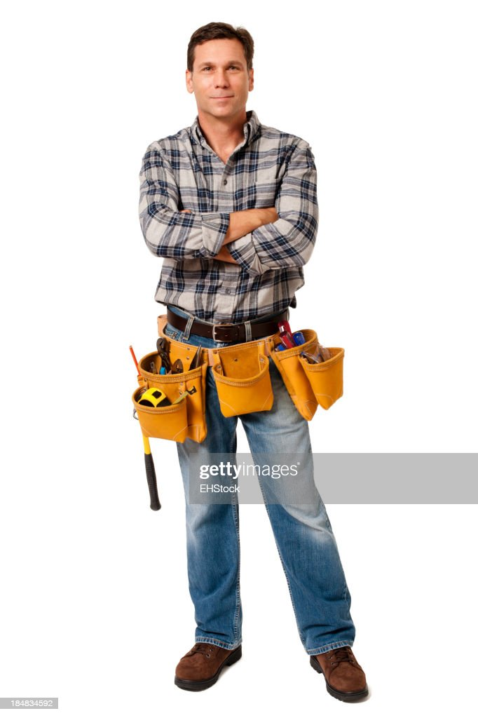 Construction Contractor Carpenter with Arms Crossed Isolated on White Background : Stock Photo