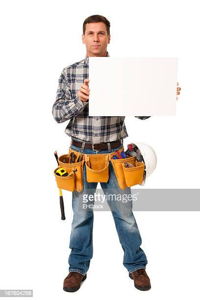 Construction Contractor Carpenter with Blank Sign Isolated on White Background