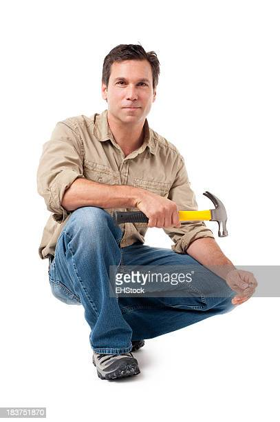 Construction Contractor Carpenter with Hammer Isolated on White Background