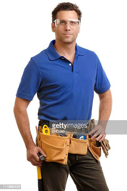 Construction Contractor Carpenter with Toolbelt and Safety Glasses on White