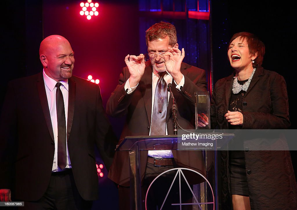 Construction Coordinator Anthony Lattanzio, Production Designer Mark Worthington and Set Decorator Ellen Brill receive the award for Excellence in Production Design for a Television Move or Mini-Series 2012 - American Horror Story: Asylum 'I Am Anne Frank: Part 2' backstage at The 17th Annual Art Directors Guild Awards, held at the Beverly Hilton Hotel on February 2, 2013 in Beverly Hills, California.