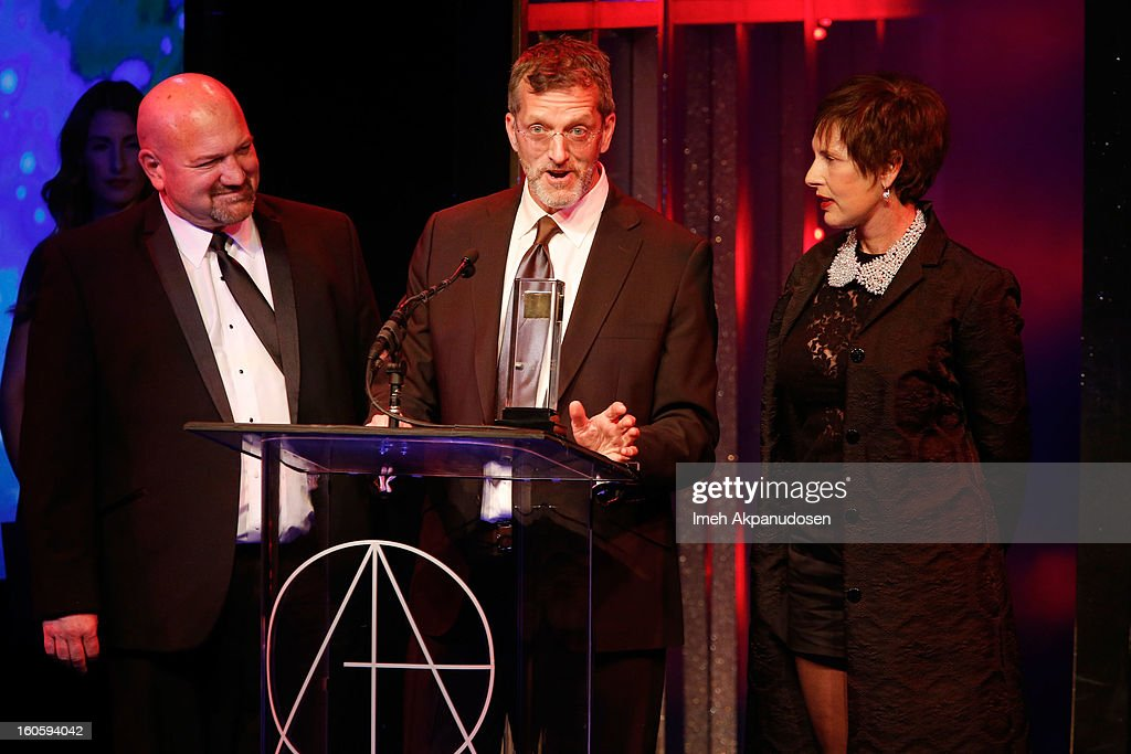 Construction Coordinator Anthony Lattanzio, Production Designer Mark Worthington and Set Decorator Ellen Brill receive the award for Excellence in Production Design for a Television Move or Mini-Series 2012 - American Horror Story: Asylum 'I Am Anne Frank: Part 2' onstage at the 17th Annual Art Directors Guild Awards, held at The Beverly Hilton Hotel on February 2, 2013 in Beverly Hills, California.
