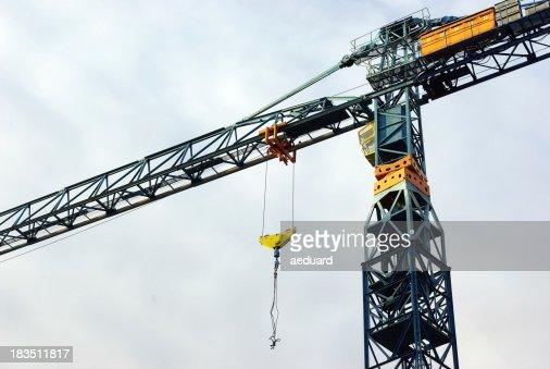 Construction crane hanging overhead