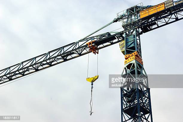 Construction crane hanging overhead