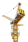 Crane for construction site equipment isolated on white background