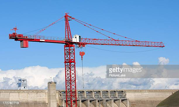 Construction crane over dam