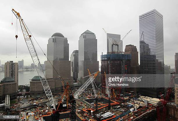 Construction cranes fill the air around Ground Zero in lower Manhattan as seen from the east August 25 2010 in New York City Work continues on the...