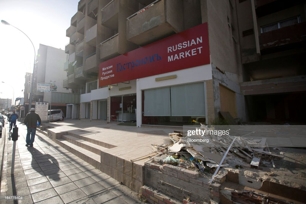 Construction debris lies outside a Russian Market store in Limassol, Cyprus, on Wednesday, March 27, 2013. The ECB said on March 25 it won't stop the Cypriot central bank from providing the island's banking sector with emergency funding. Photographer: Simon Dawson/Bloomberg via Getty Images