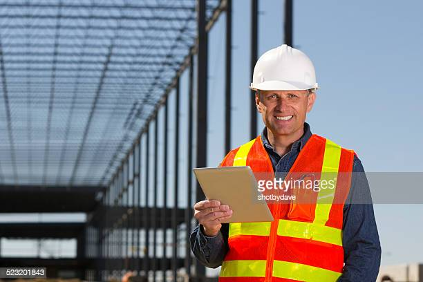 Construction Engineer and Computer Tablet
