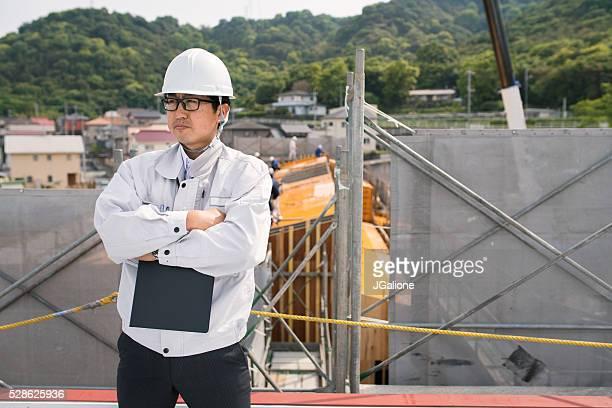 Konstruktion Vorarbeiter Blick auf die Baustelle
