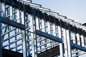 Construction frame of steel girders on construction site