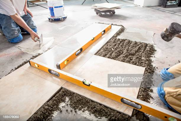 Construction: Laying a Porcelain Floor with levels