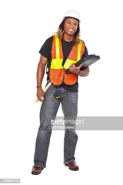 Construction Man With Clipboard, Isolated on White