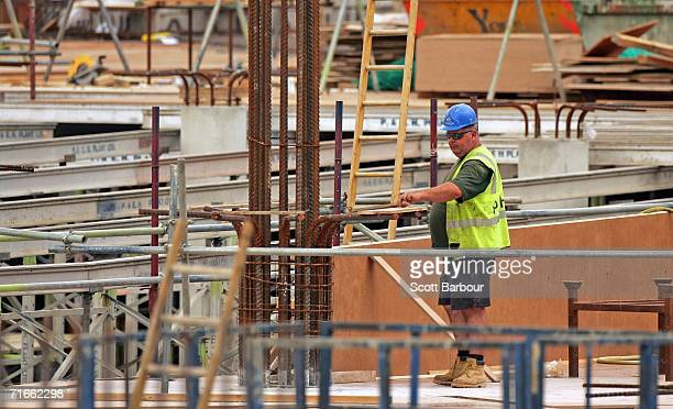 A construction man works on a shopping centre being built by construction group Multiplex in White City on August 17 2006 in London England...
