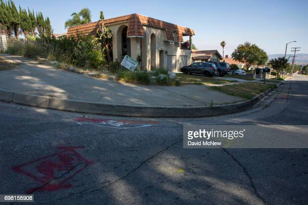 Construction markings are seen on a street next a home a few houses away from the San Andreas Fault on June 18 2017 in Highland California An...