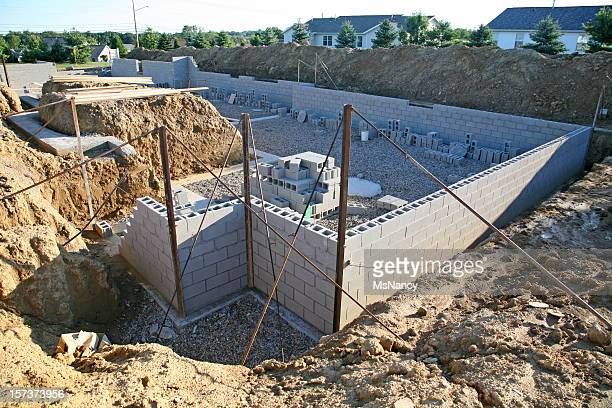 Concrete block stock photos and pictures getty images for Building a basement foundation
